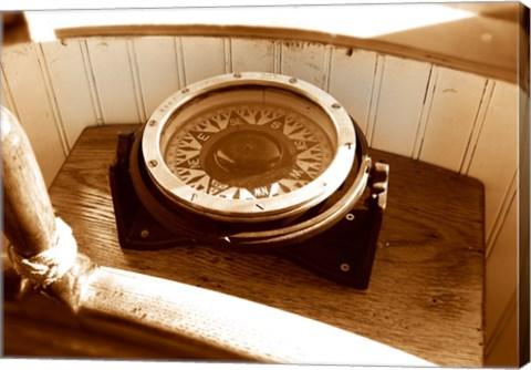 Framed Classic Nautical Compass Print