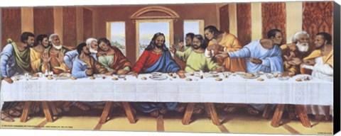 Framed Black Last Supper Print
