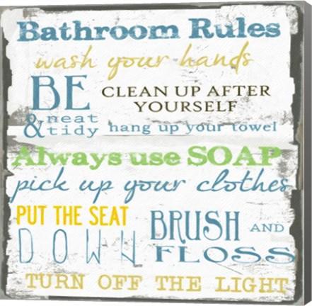 Framed Bathroom Rules Multi 1 Print