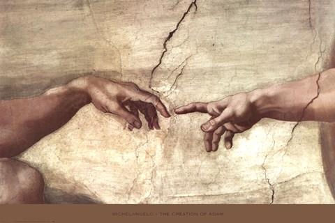Framed Creation of Adam (hands detail) Print