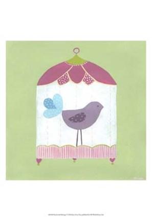 Framed Patchwork Birdcage I Print