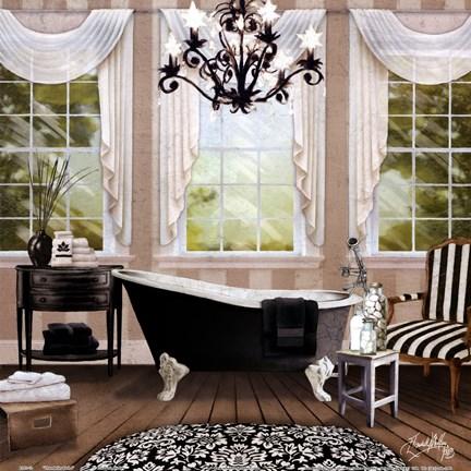 Framed Chandelier Bath I Print