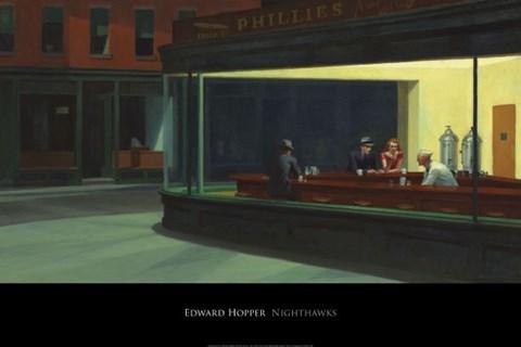 Framed Nighthawks, 1942 Print