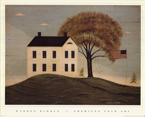 Framed House with Flag Print
