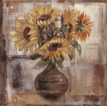 Framed Sunflowers In Bronze Vase Print