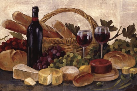 Framed Tuscan Evening Wine Crop Print