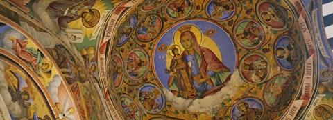 Framed Fresco on the ceiling of a monastery, Rila Monastery, Bulgaria Print