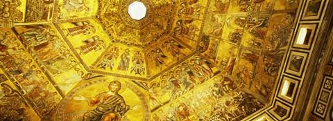 Framed Baptistery mosaic ceiling, Battistero Di San Giovanni, Florence, Tuscany, Italy Print