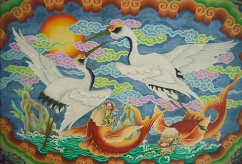 Framed Taiwan, Peimen, Nankunshen Temple, Ceiling mural of cranes and catfish Print