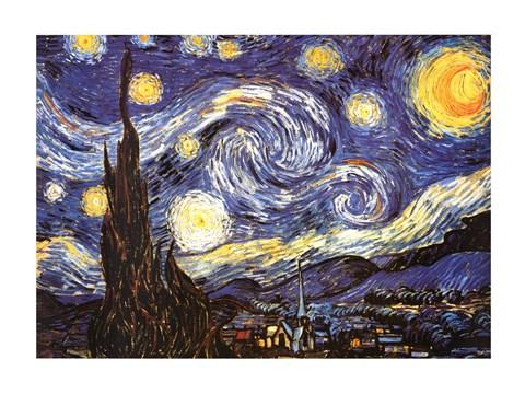 Framed Starry Night, c.1889 Print