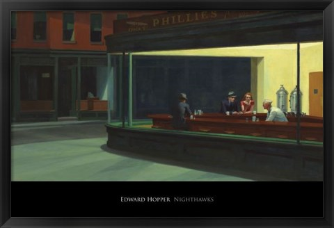 Framed Nighthawks, 1942 Print