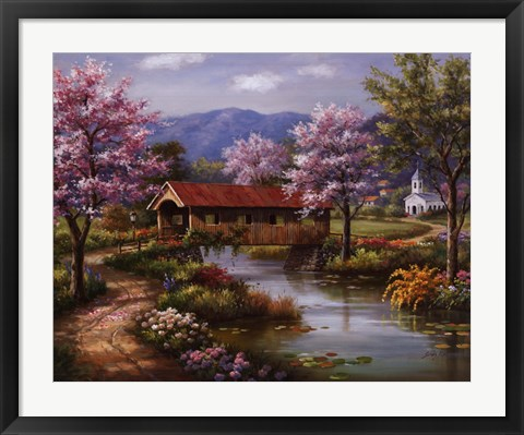 Framed Covered Bridge in Spring Print
