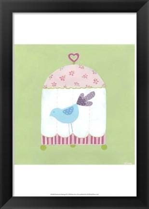 Framed Patchwork Birdcage II Print