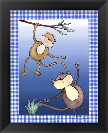 Framed Two by Two Blue - Monkeys Print