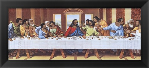 Framed Black Last Supper Print
