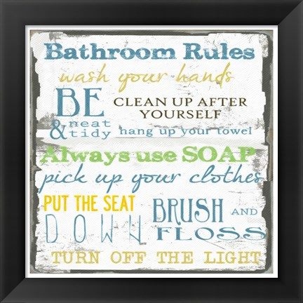 Framed Bathroom Rules Multi 1 Print